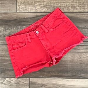 J BRAND Red Cutoff Shorts